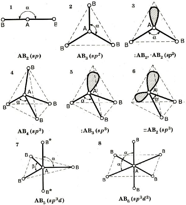 Пространственное расположение гибридных орбиталей различных типов