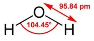 длина связи и валентный угол молекулы воды
