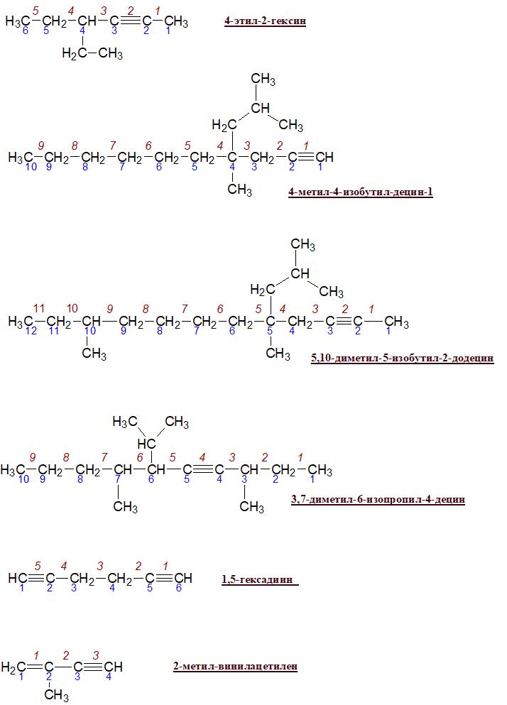 Напишите структурные формулы следующих алкинов