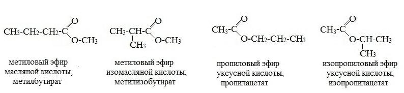 сложные эфиры изомерия углеродного скелета