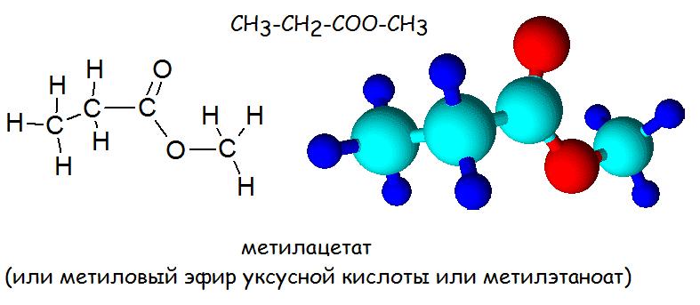 строение сложных эфиров_метилацетат